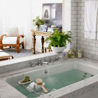 marble white tile deep soaking tub luxurious