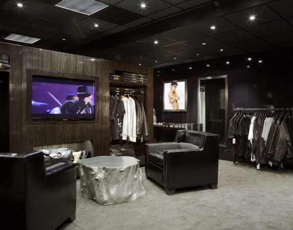 Interior of zebra wood and rich leathers captures the masculine, sophisticated and modern aesthetic that reflects Jay Z's personal style, in the Rocawear mobile pop up store in Los Angeles.