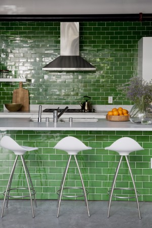 The Marina Del Rey Tasting Kitchen for Gardein Vegan Food Company, where an elegant green and white theme features Waterworks Architectonics Tile in clover.<br />