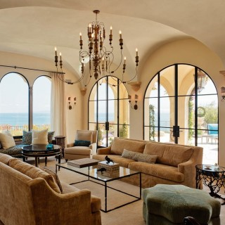 dramatic Pacific Ocean views Malibu arched windows luxurious
