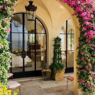 entry arches steel windows Malibu, flowers