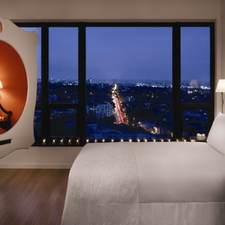 Mondrian Hotel guest room Los Angeles night views