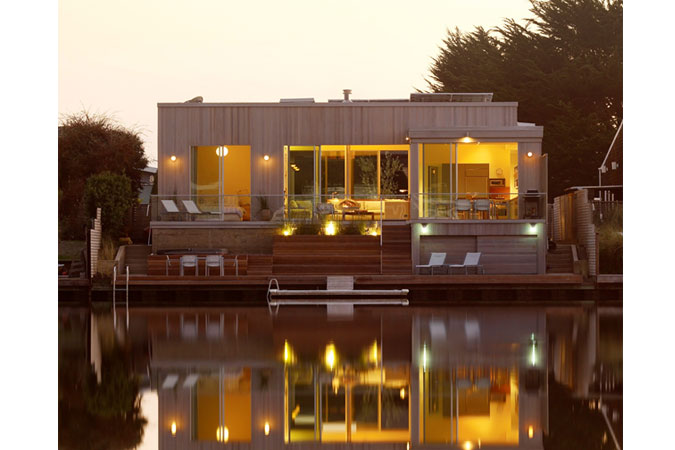 Eco-elegant: The enviable location, on Stinson Beach, CA, and the newly constructed and sustainable, 1900-square-foot beach house, is a second home for a San Francisco family. The only use of natural gas is at the cooking range, which draws from a 50-gallon propane tank.  With the exception of the propane tank, the home is net-zero in terms of its energy consumption.