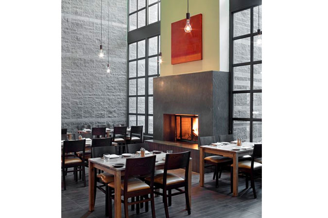 SWB at The Hyatt Resort & Spa at Gainey Ranch, in Scottsdale, AZ., is a casual bistro located within the Hyatt Resort.  An earthy palette of leather, wood, stone and ceramic tiles evoke the desert landscape. This approachable dining spot is energized by an open kitchen with live fire.