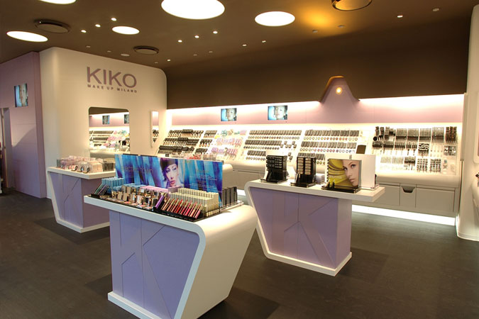 Kiko Cosmetics is a significant European brand, with 600 hundred stores. Here, our architect uses interestingly shaped display cases, and soft feminine colors, as always to enhance the brand identity, as well as make the consumer feel good during the shopping experience.