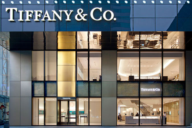 The facade of the Tiffany store in Shanghai. The two level stores was designed by one of the most significant architects/designers in the USA, with a firm based in New York.
