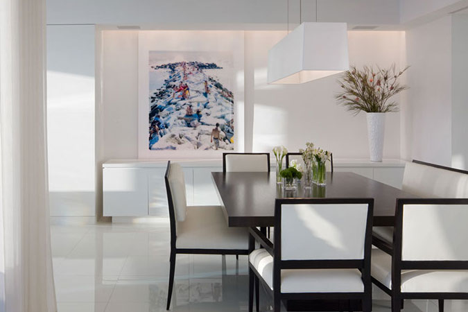 In a sleek light -filled Miami apartment. <br />