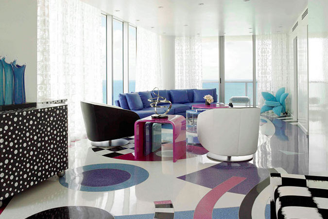 A Miami Beach living room has custom designed terrazo floors inspired by pop art.