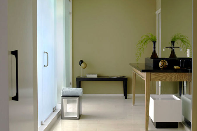 Spare bathrooms are soothing in the hot climate of Florida;  evoking a feeling of calm, light.