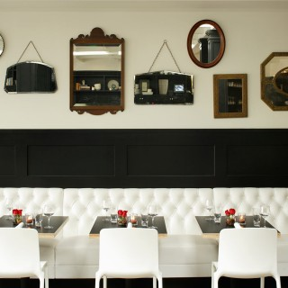 Comme Sa restaurant  West Hollywood tufted white uphosltery