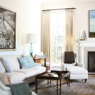 Brentwood, natural linen antique agra carpet white sofa high ceiling