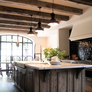 beamed ceiling large kitchen island