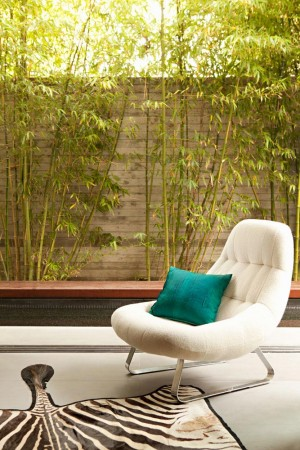 The tufted white chaise-inspired chair, sits in a courtyard, against the wall of bamboo.