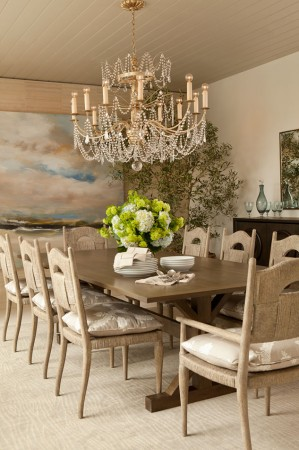 This Manhattan Beach, California dining area with a crystal chandelier, is romantic, light and incredibly chic.