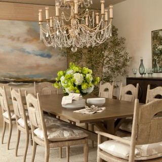 dining room rustic wooden chairs  upholstery, elegant chandelier